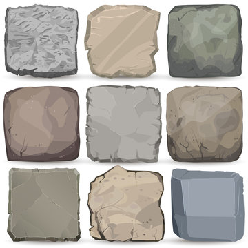Rock stone cartoon banner set. Square stone panel. Big boulder flat style. Vector