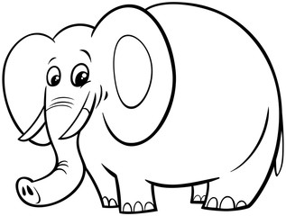 African elephant cartoon character color book