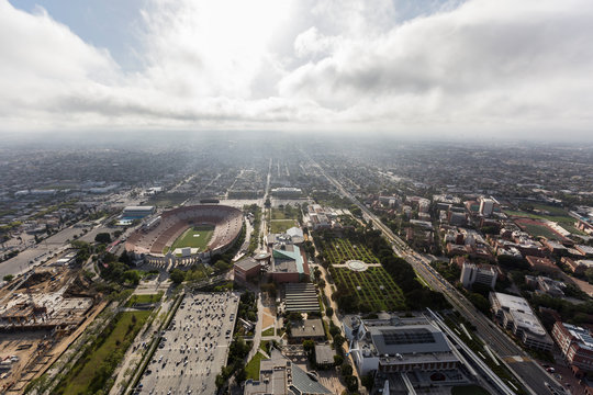 Aerial view of the historic Coliseum and Exposition Park Rose Garden and Museums on April 12, 2017 in Los Angeles, California, USA.