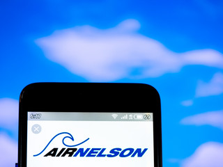 In this photo illustration the Air Nelson logo is seen displayed on a smartphone, illustrative editorial, Kiev, Ukraine, July 1, 21019