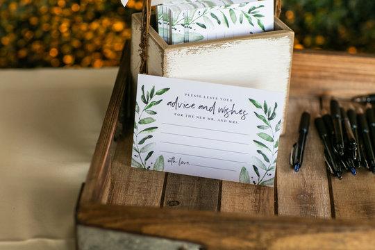 advice card for wedding couple