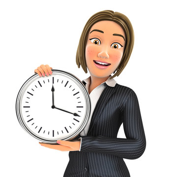 3d business woman showing a wall clock