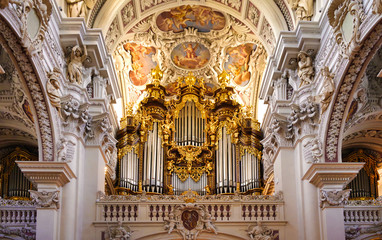Pipe Organ in the St. Stephan's Cathedral, Passau, Bavaria, Germany