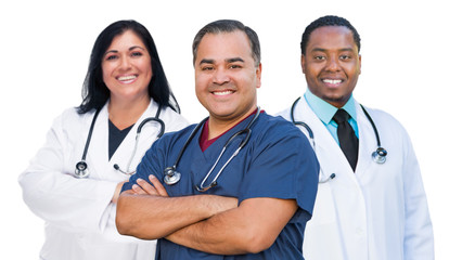 Group of Mixed Race Female and Male Doctors Isolated on White Wall mural