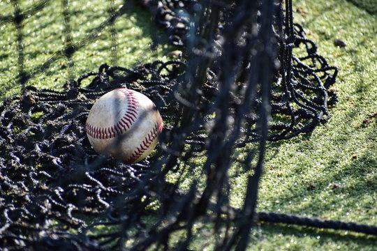 Lone baseball in mesh netting of batting cage