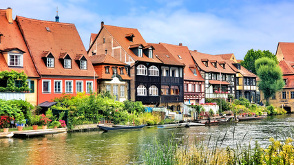 Fototapete - Traditional river houses in the Old Town of Bamberg, Bavaria, Germany