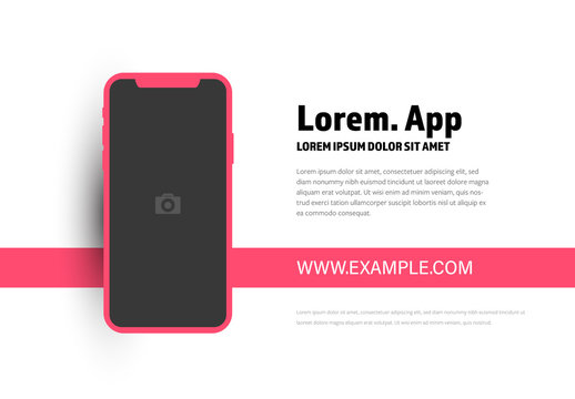 Diagram with Smartphone Mockup and Pink Accents