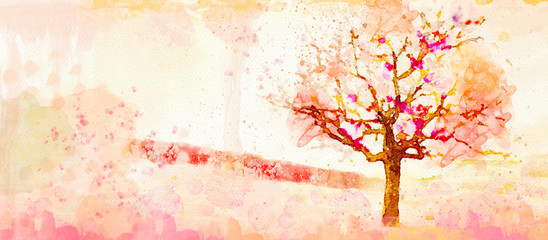 Autumn watercolor background. Design element.