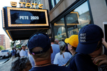Audience members wait to get in to a campaign event with Democratic 2020 U.S. presidential candidate Buttigieg in Portland