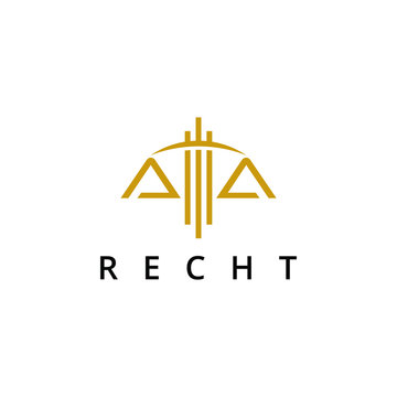 law logo in simple line gold color balance icon company abstract design