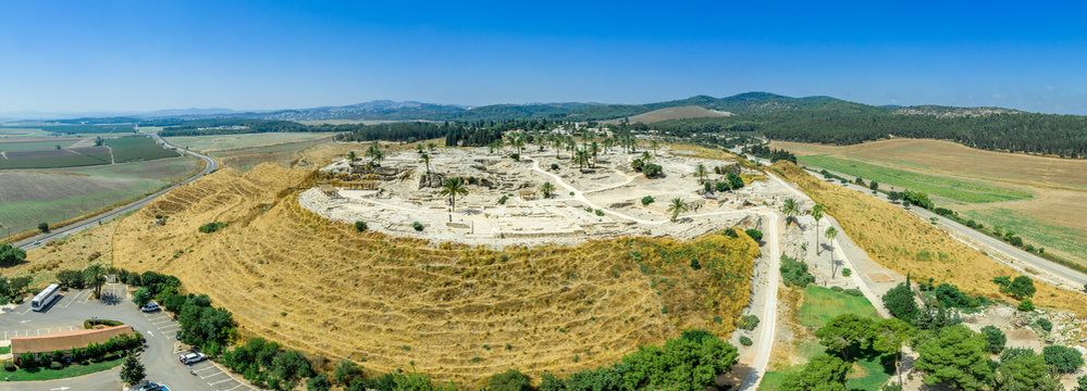 Aerial panorama of ancient city of Tel Megiddo archaeological park, site of the biblical Armageddon in Israel