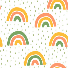 Hand Drawn Children's Cute rainbow and Rain Seamless Pattern. Simple Vector Background in Scandinavian Style.