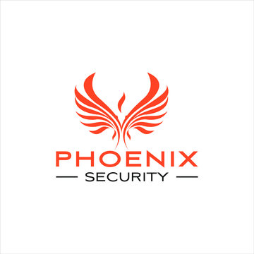 phoenix logo simple abstract flat wing vector design