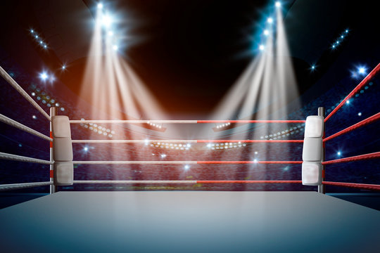 boxing ring with illumination by spotlights. - Illustration