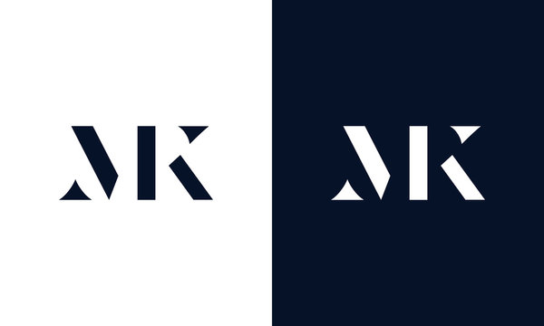 Abstract letter MK logo. This logo icon incorporate with abstract shape in the creative way.