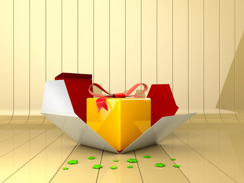 3d Illustration of Decorative gift box with red bow.
