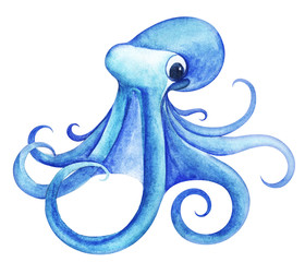 Large marine octopus bright blue. Big expressive eyes. Tentacles are twisted into elegant rings. Hand-drawn watercolor illustration isolated on white background
