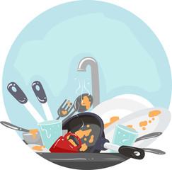 Household Chores Washing Dishes Illustration