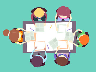 Parent Teacher Meeting Top View Illustration