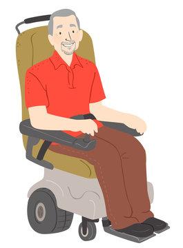 Senior Man Electric Wheelchair Illustration