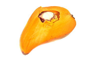 Egg fruit is the common name of this fruit isolate on white