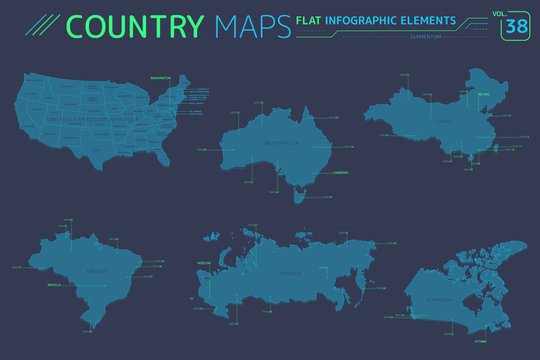 Russia, Canada, China, United States, Brazil and Australia Vector Maps