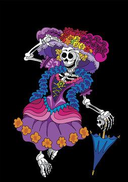 La Calavera Catrina dressed up in full color