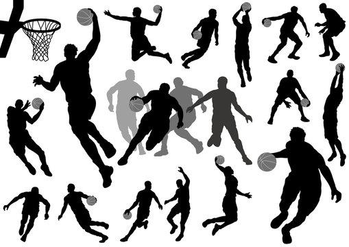 バスケットボール シルエットイラストセット