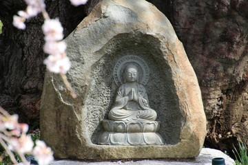 お地蔵さん・妙徳寺の桜(福島県・白河市)