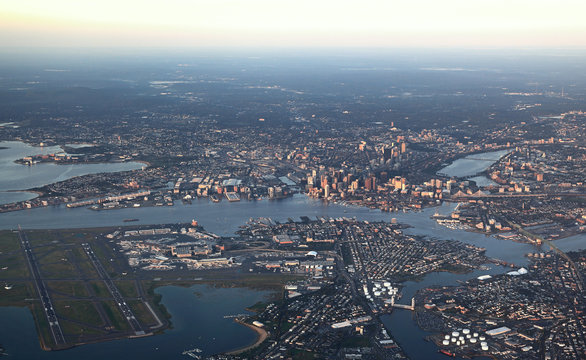 Boston, aerial view in the early morning sun