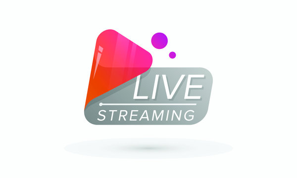 Live Streaming / Online Streaming HD Icon with play button, badge, emblem for broadcasting, blog, player, online TV stream, website, online radio, media labels, logo. Live video glossy icon in vector