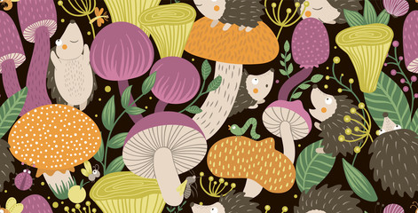 Vector seamless pattern of flat funny mushrooms with hedgehogs, berries, and insects. Autumn repeating background for children's design. Cute fungi illustration on black backdrop.