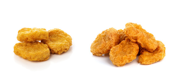 Fried chicken nuggets isolated on white background Wall mural