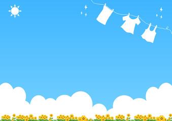 洗濯 ヒマワリ 青空背景