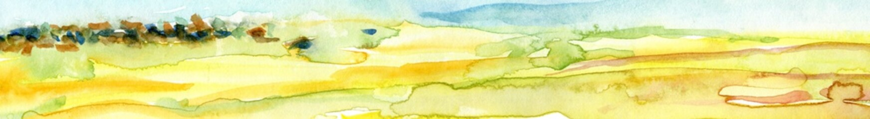 Papiers peints Jaune de seuffre Hand Drawn Watercolor Landscape