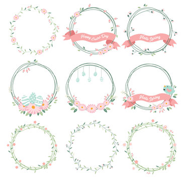 daisy spring and easter flower wreath collection eps10 vectors collection