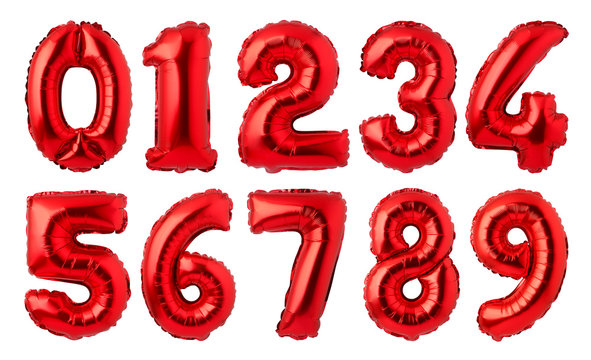 Red foil numbers balloons isolated on white background