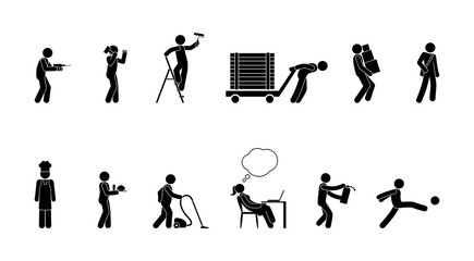professional activity icon, pictogram of people of various professions at work, stick figure man, silhouettes set