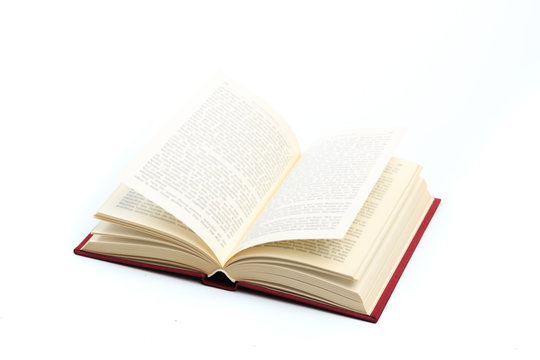 open vintage book isolated on a white background .