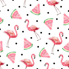 Watercolor tropical seamless psttern. Illustration with flamingo and summer fruit for the textile fabric or wallpaper