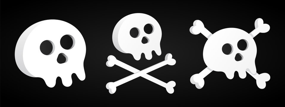 3 Simple flat style design sculls with crossed bones set icon sign vector illustration isolated on black background. Human part head, Jolly Roger pirat flag symbol or halloween scary decoration