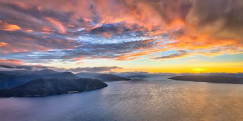 Wall Mural - Panoramic Aerial view of Norwegian fjords