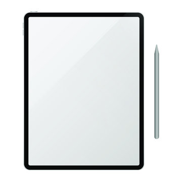 Vector realistic computer tablet with stylus on white background