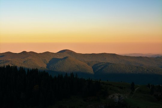 in the evening on the Bucegi mountains