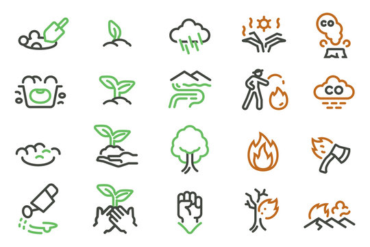 The grow seed of plant after wildfire (line icon style). A causes and Controlling the fire to not burn the forest.
