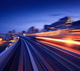 Fotobehang Nacht snelweg cityscape