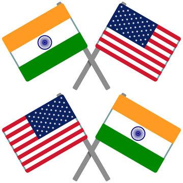 インドとアメリカの旗