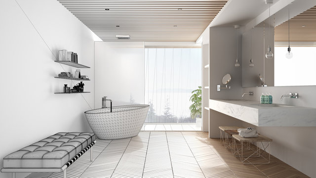 Architect interior designer concept: unfinished project that becomes real, luxury modern bathroom with parquet and wooden celiling, bathtub, shower and sink, architecture concept idea