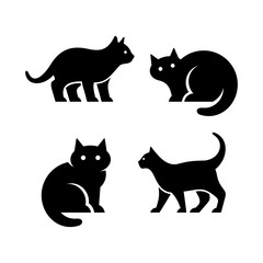 Set of Cat logo. Icon design. Template elements