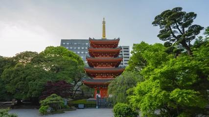 Wall Mural - Tochoji Temple with five-storied pagoda time lapse in Hakata, Fukuoka Japan